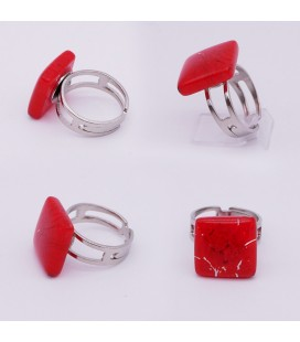 Bague-murano-murrine-carré-rouge-milodina