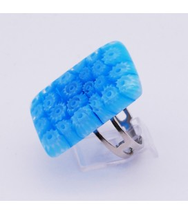 Bague-murano-murrine-rectangle-bleu turquoise-milodina