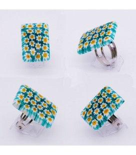 Bague-murano-murrine-rectangle-vert-blanc-jaune-milodina